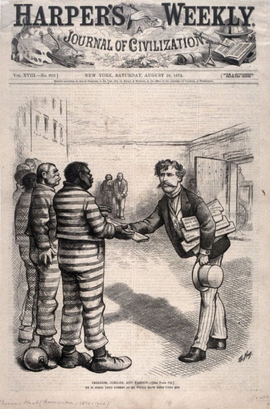 Freedom, Jubilee and Pardon, from Harper's Weekly, (August 29, 1874), cover page