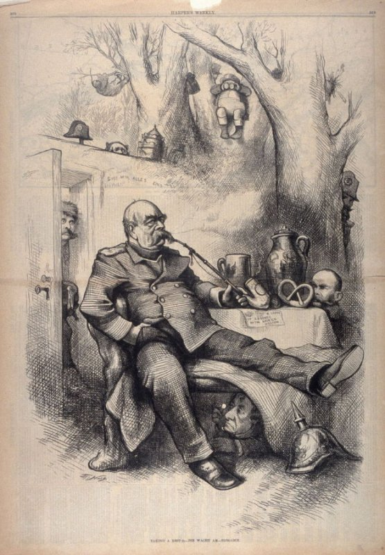 Taking a Rest (?) - Die Wacht am-Bismark, from Harper's Weekly, (May 12, 1877), pp. 368-369