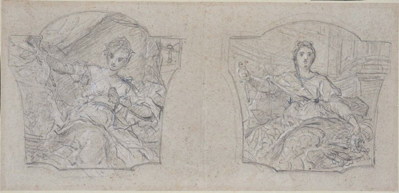 Two studies for the paintings Thalia, Muse of Comedy, and Melpomene, Muse of Tragedy