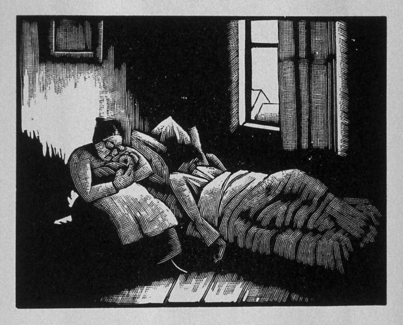Third image (of eight) for Childhood , chapter 1 in the book Destiny, A Novel in Pictures by Otto Nückel (New York: Farrar and Rinehart,Inc. [1930 ])