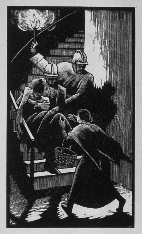 Tenth image (of thirteen) for The Mother , chapter 3 in the book Destiny, A Novel in Pictures by Otto Nückel (New York: Farrar and Rinehart,Inc. [1930 ])