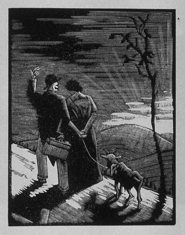 Fifth image (of ten) for The Salesman , chapter 5 in the book Destiny, A Novel in Pictures by Otto Nückel (New York: Farrar and Rinehart,Inc. [1930 ])