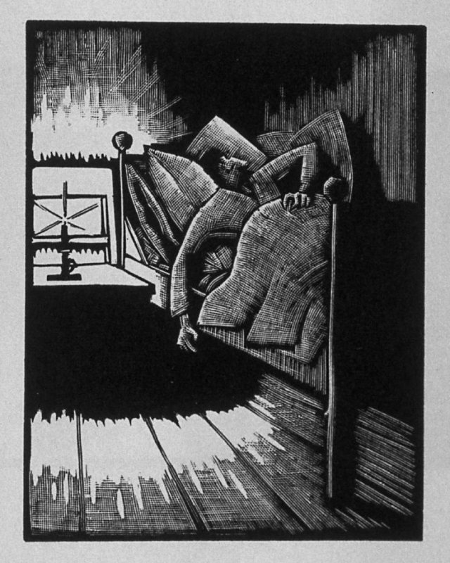 Fourth image (of twelve) for The Child , chapter 6 in the book Destiny, A Novel in Pictures by Otto Nückel (New York: Farrar and Rinehart,Inc. [1930 ])