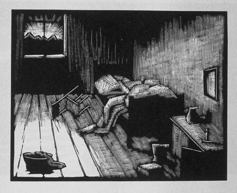 Fifth image (of twelve) for The Child , chapter 6 in the book Destiny, A Novel in Pictures by Otto Nückel (New York: Farrar and Rinehart,Inc. [1930 ])