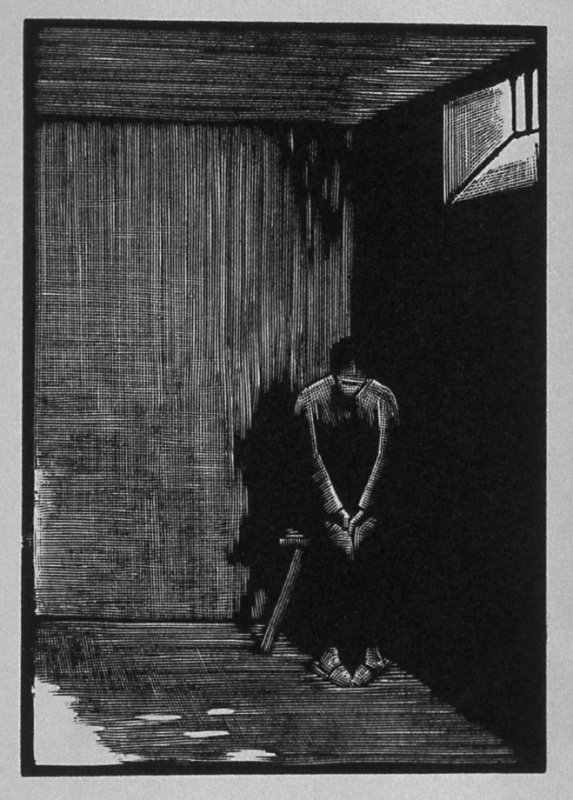 Eleventh image (of twelve) for The Child , chapter 6 in the book Destiny, A Novel in Pictures by Otto Nückel (New York: Farrar and Rinehart,Inc. [1930 ])