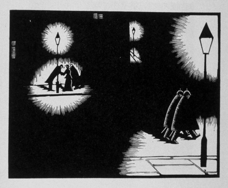 Twentieth image (of twenty) for The Seducer, chapter 12 in the book Destiny, A Novel in Pictures by Otto Nückel (New York: Farrar and Rinehart, Inc. [1930 ])