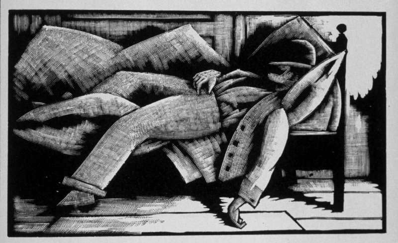 Eighteenth image (of eighteen) for Burden , chapter 14 in the book Destiny, A Novel in Pictures by Otto Nückel (New York: Farrar and Rinehart,Inc. [1930 ])