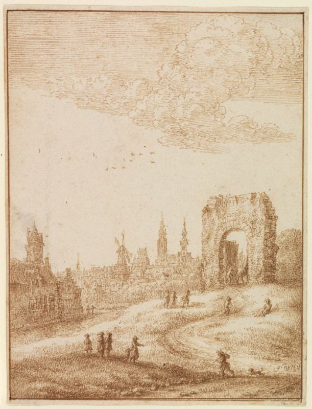 View of a City with Ruined Arch