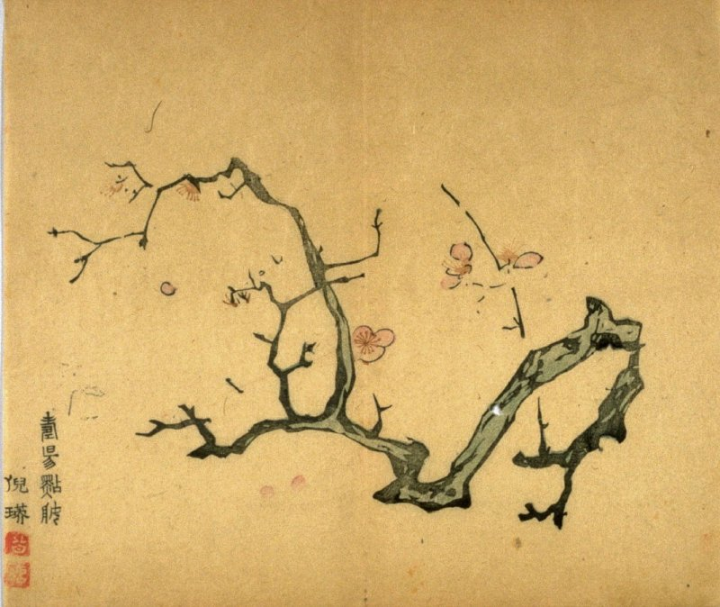 Falling Petals, Twisted Branches, No.20 from the Volume on Plums - from: The Treatise on Calligraphy and Painting of the Ten Bamboo Studio