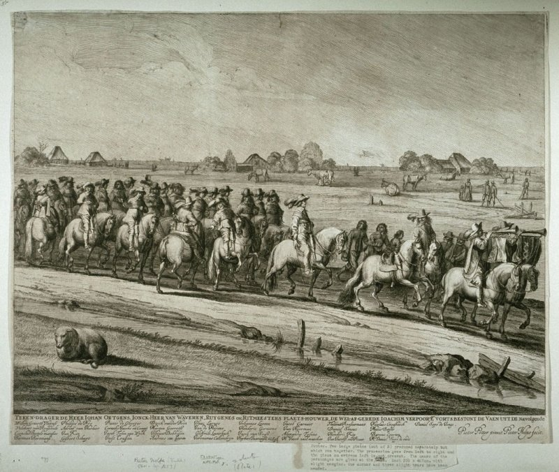The procession of Henrietta-Maria, Queen of Great Britain, accompanied by the Calvary commanded by the burgomasters, visiting Amsterdam, May 20, 1642.
