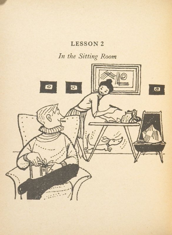 Lesson 2: In the Sitting Room, Illustration 1 in the book Lesson by Jaroslav Kozlowski (Beau Geste Press:1972-1975)