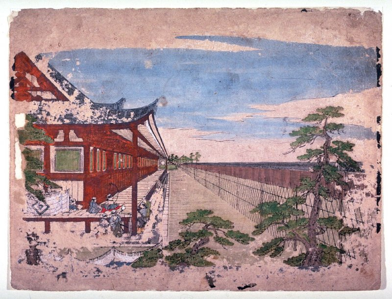 Archery Contest at the Sanjusangen Hall, from an untitled series of Kyoto landscapes for an optical viewer device