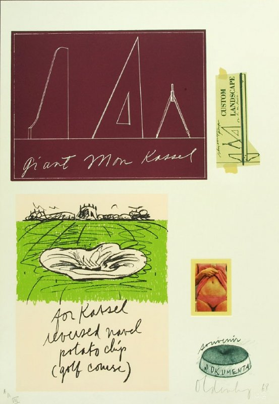 Untitled (Kassel), between pgs. VI and VII, in the book Notes by Claes Oldenburg (Los Angeles: Gemini G.E.L., 1968)