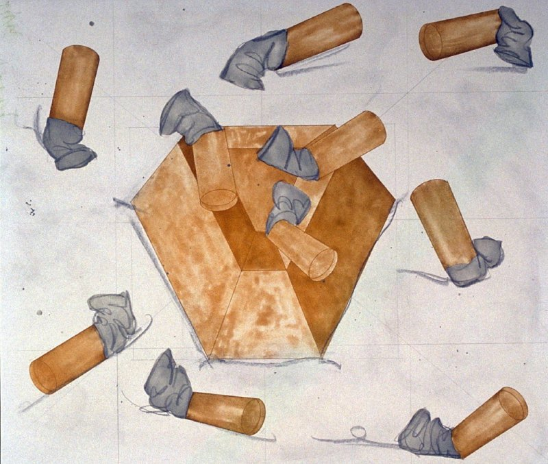 Drawing for the print Study for Steel and Lead Ashtray