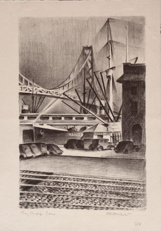 Bridge with Ships at Dock, no. 8 from Building the Bay Bridge
