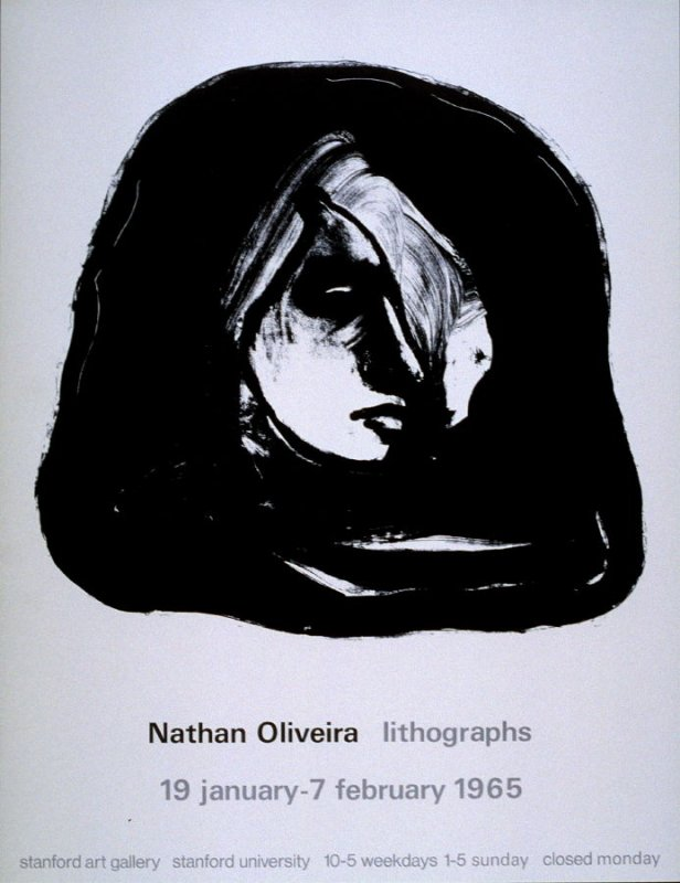 (Poster) Nathan Oliveira: Lithographs 19 january-7 february 1965, Stanford Art Gallery, Stanford University