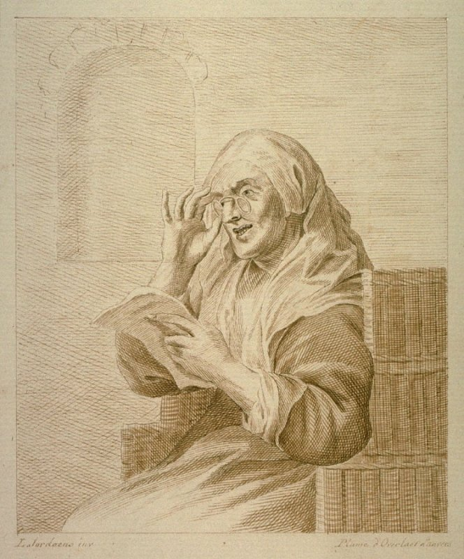Old woman reading letter