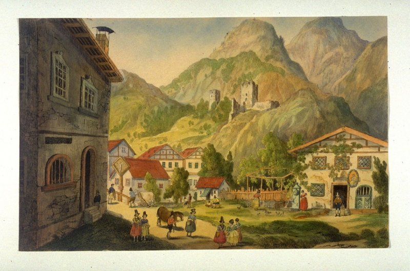 View of a Country Village in the Alps - ( View of the Church below Martins wand ?)