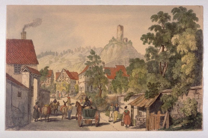 View of an ancient House in the Village of Neidrich and the Ruins of Schlafenstein near Schlangenbad