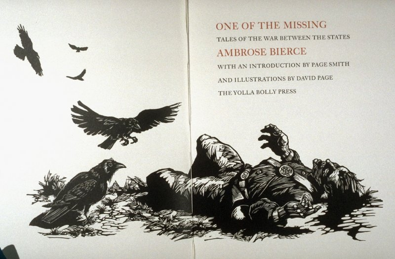Title page in the book One of the Missing, Tales of the War between the States by Ambrose Bierce (Covelo CA: Yolla Bolly Press, 1991)