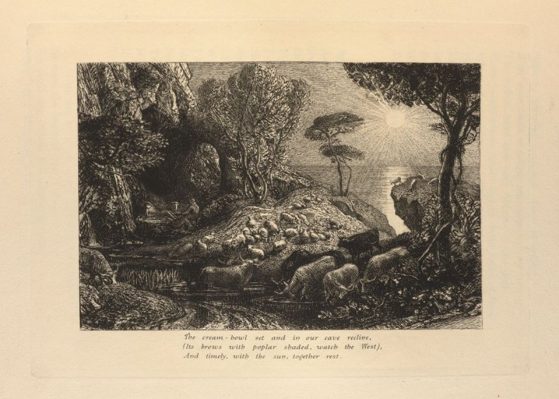 """Then, to our goats at milking time return.."", illustration for Eclogue 9, opposite page 88 in the book An English Version of the Eclogues of Virgil by Samuel Palmer (London: Seeley & Company, 1883)"