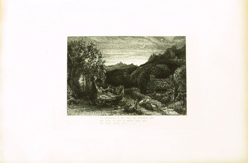 """""""Ripe apples are our supper..."""",third illustration for Eclogue 1, opposite page 22 in the book An English Version of the Eclogues of Virgil by Samuel Palmer (London: Seeley & Company, 1883)"""