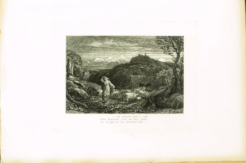 """""""Come fairest, if thou care for me at all..,"""" illustration for Eclogue 7, opposite page 70 in the book An English Version of the Eclogues of Virgil by Samuel Palmer (London: Seeley & Company, 1883)"""
