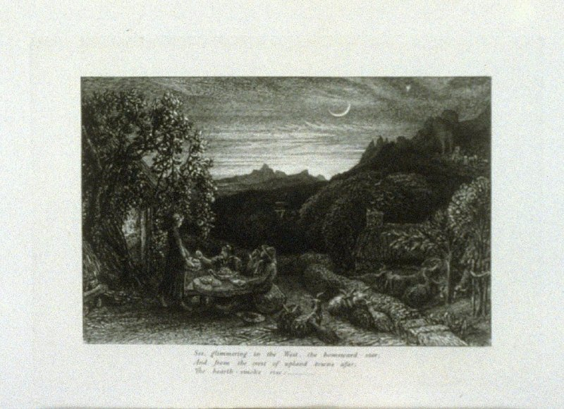 """""""Ripe apples are our supper..."""", third illustration for Eclogue 1, opposite page 22 in the book An English Version of the Eclogues of Virgil by Samuel Palmer (London: Seeley & Company, 1883)"""
