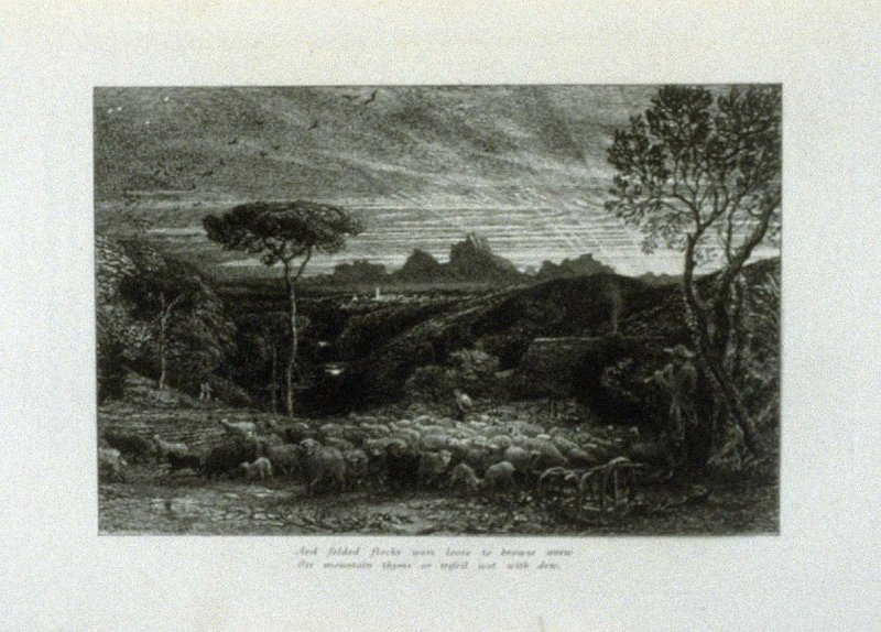 """Scarce with her rosy fingers had the dawn..."", first illustration for Eclogue 8, opposite page 76 in the book An English Version of the Eclogues of Virgil by Samuel Palmer (London: Seeley & Company, 1883)"