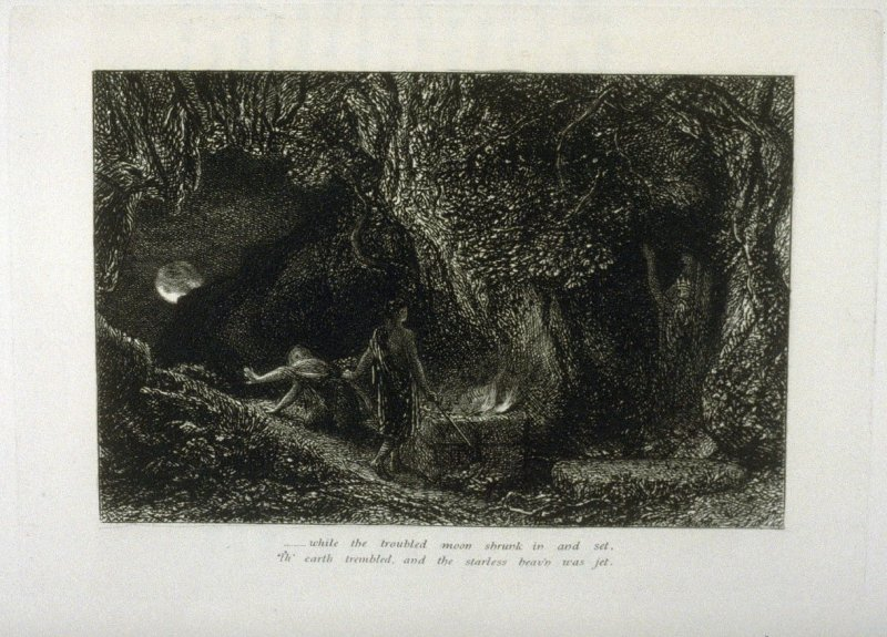 """""""And while the troubled moon shrunk in and out..."""", second illustration for Eclogue 8, opposite page 82 in the book An English Version of the Eclogues of Virgil by Samuel Palmer (London: Seeley & Company, 1883)"""