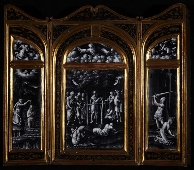 Triptych with Scenes from the Life of St. John the BaptistLeft: Baptism of Jesus by John;Center: John Preaching;Right: Beheading of John