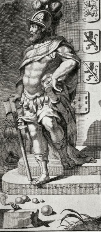 Roman Soldier descending steps -coats of arms on wall behind him