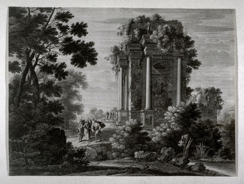 Landscape with Christ flanked by two men