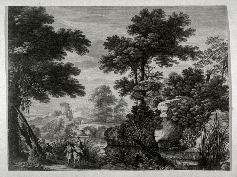 Landscape with man leading a woman on a mule