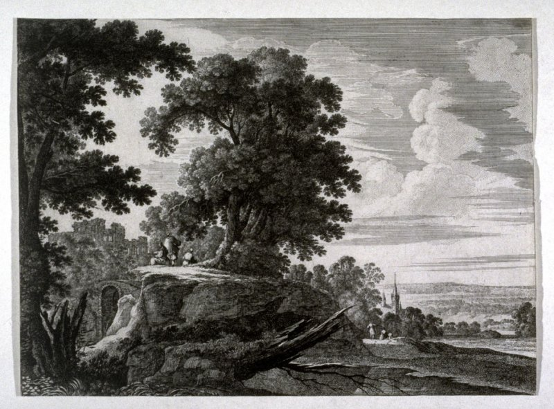 Landscape with church steeple in the distance