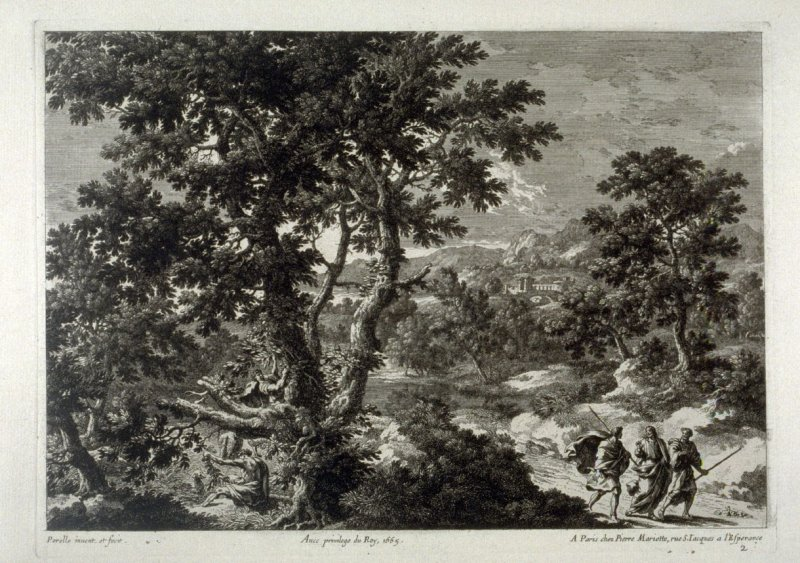 Landscape with Christ walking, flanked by two men
