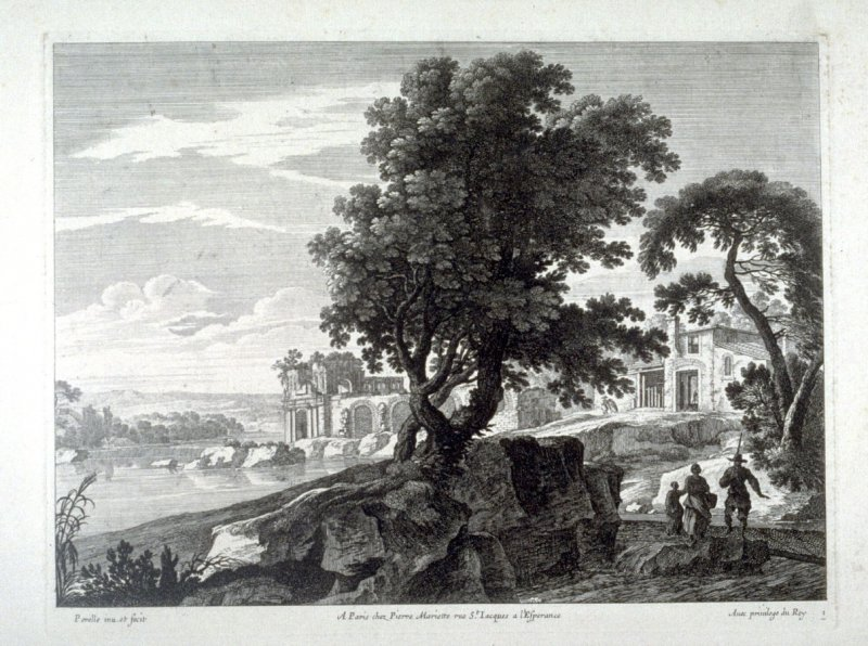Landscape with three figures walking in the foreground