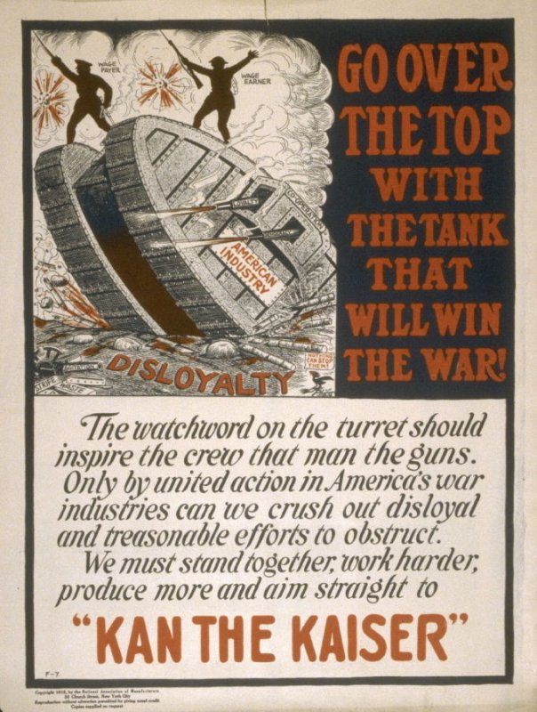Go over the top with the tank that will win the War - World War I Poster