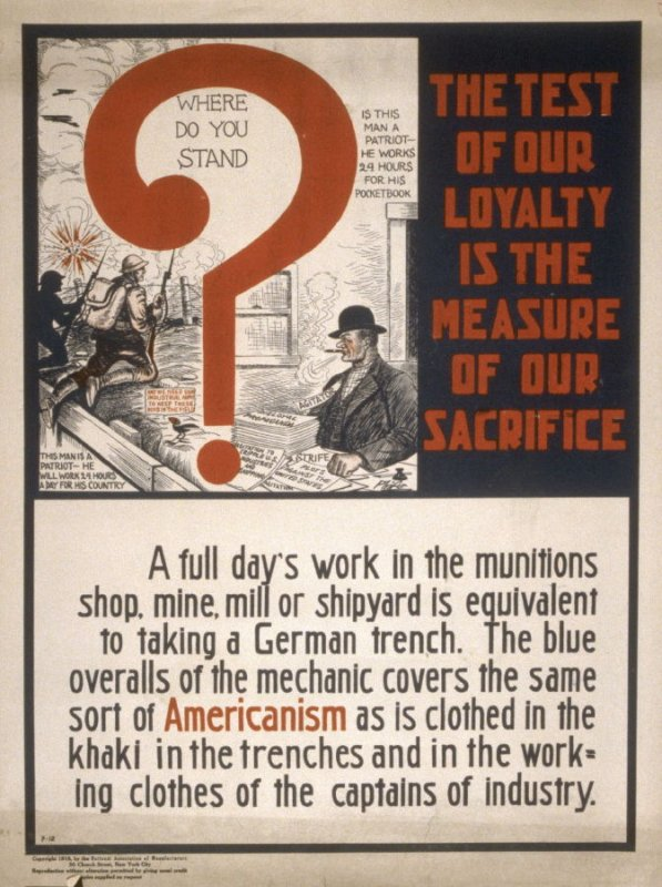 Where do you stand (The test of our loyalty...) - World War I Poster