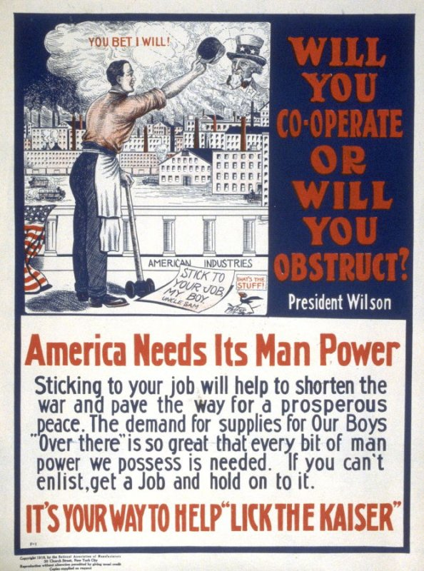Will you co-operate or will you obstruct? - World War I Poster