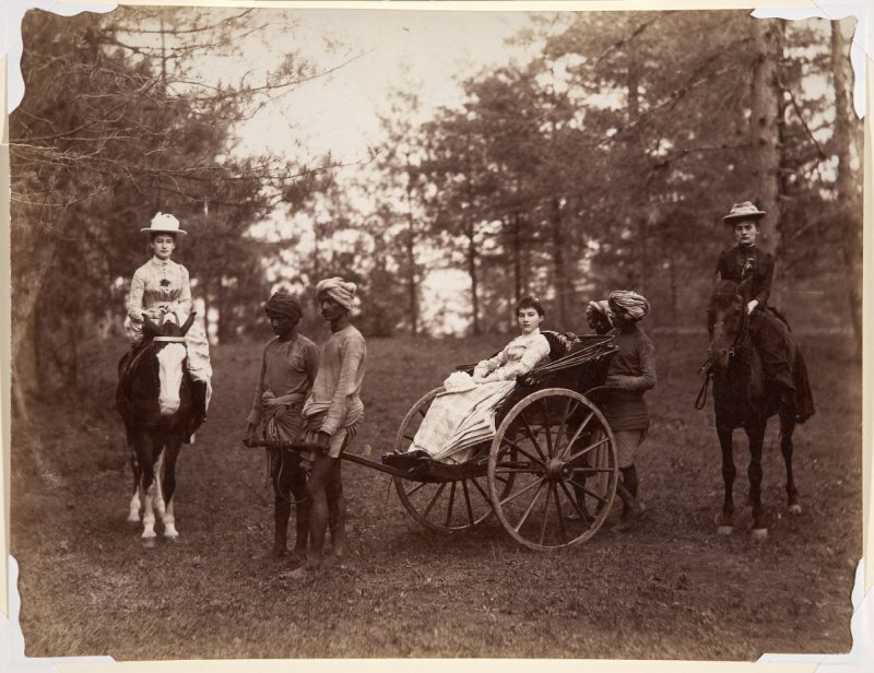 Women Riding Horses and Being Drawn in a Rickshaw