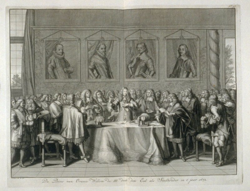 The Prince of Orange, William III, Takes the Oath as Stadholder in the year 1672 - Pl.51 from: Netherlands 1566-1672