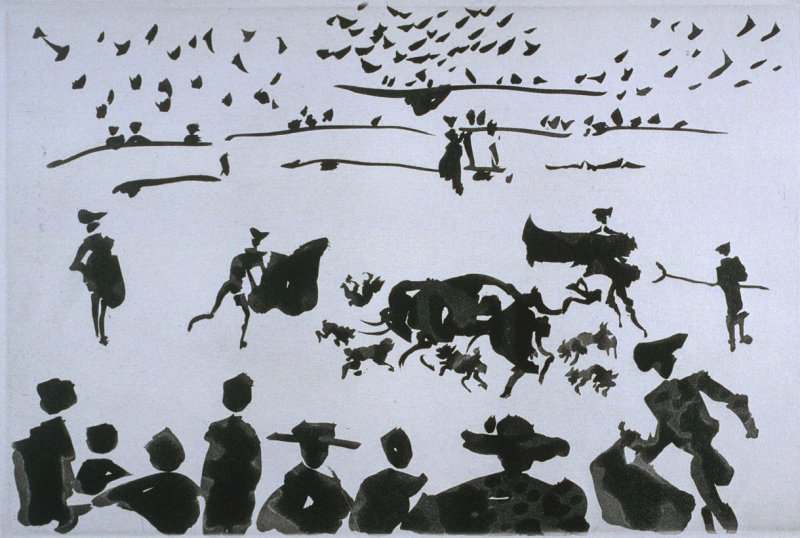 Echan perros al toro (Setting the Dogs on the Bull), pl. XI in the book La Tauromaquia (Bullfighting) by José Delgado alias Pepe Illo (Barcelona: Editorial Gustavo Gili, S.A./Ediciones de la Cometa, 1959)