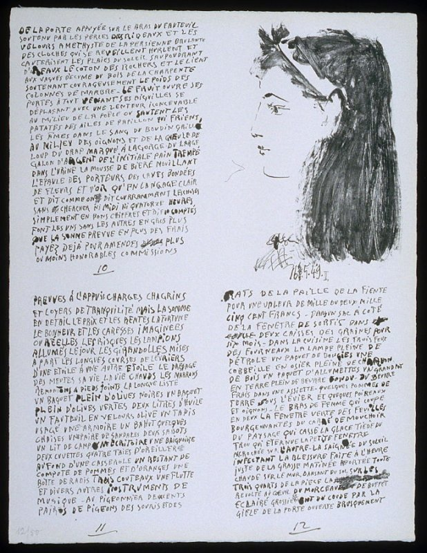 Untitled, pgs. 10-12, in the book Poèmes et lithographies by Pablo Picasso (Paris: Galerie Louise Leiris, 1954).