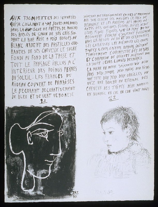 Untitled, pgs. 21-22, in the book Poèmes et lithographies by Pablo Picasso (Paris: Galerie Louise Leiris, 1954).