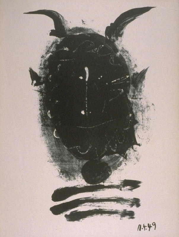 """""""Black mask with horns"""" in the book Elegy of Ihpetonga and Masks of Ashes by Yvan Goll (translated by Babette Deutsch, Louise Bogan and Claire Goll) (New York: The Noonday Press, 1954)."""