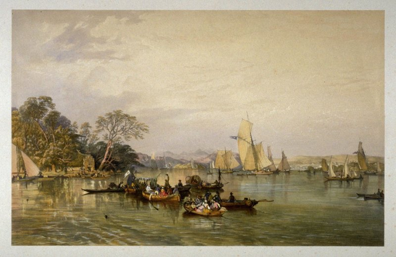 Windermere after the Regatta, from J. P. Pyne's 'Lake Scenery of England' (London, 1859)