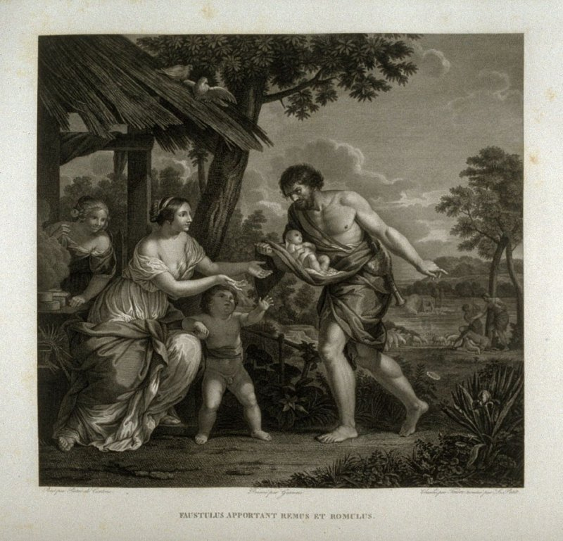 Faustulus apportant Remus et Romulus ( Faustulus brings forth Remus & Romulus)... fourteenth plate in the book...Le Musée royal (Paris: P. Didot, l'ainé, 1818), vol. 2