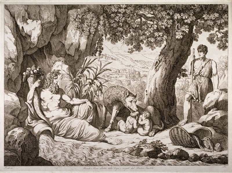 Romulus and Remus Nursed by a She-Wolf, and Discovered by the Shepherd Faustolo