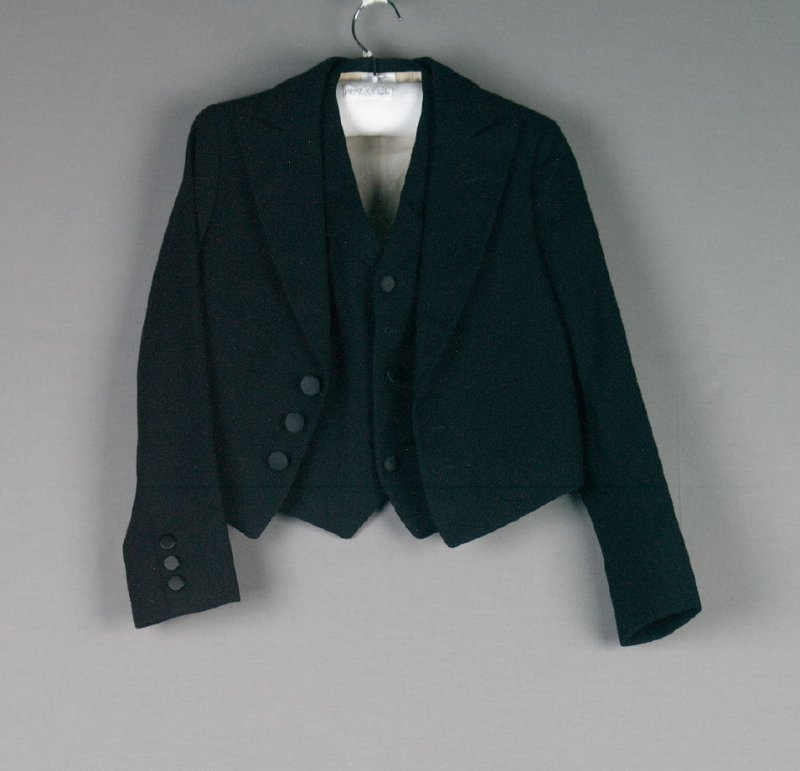 Boy's Eton suit: a) jacket, b) vest ( with 1979.33.1 c : pants and .2-.6)